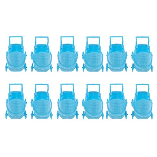 Baoblaze 12pc Mini Deko Kinderwagen, 3 Zoll Kinderwagen Tischdeko Streudeko für Baby Taufe Geburt Party Dutsche Tischdeko - Blau, 3