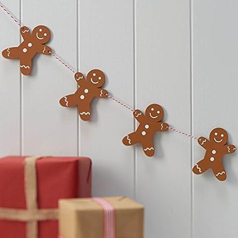 Ginger Ray en bois Motif bonhomme en Pain d'épice de Noël pour décoration de fête Fanions style Vintage