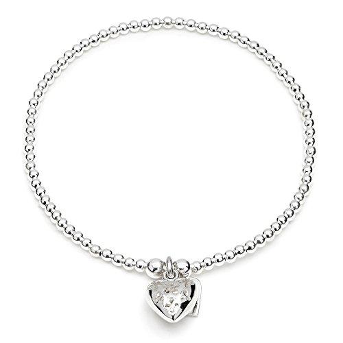 ANNIE HAAK Santeenie il braccialetto di fascino d'argento, impilabile Strand unico con multi fascino del fiore del cuore, argento 925 in rilievo a mano