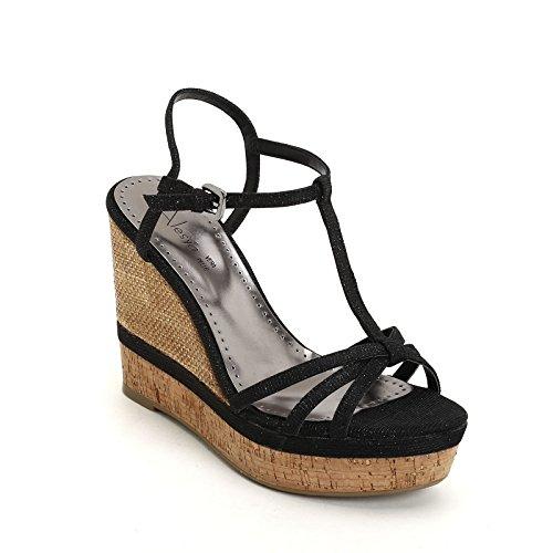 ALESYA by Scarpe&Scarpe - Schuhe mit Keilabsatz und changierendem Effekt, mit Absätzen 11 cm Schwarz