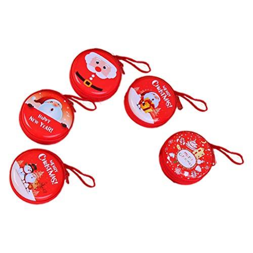 Toyvian 5 stücke Weihnachten Geldbörse Ornamente Runde Tasche mit Santa Schneemann Muster Weihnachtsbaum Hängen Dekor Kopfhörer USB Kabel Aufbewahrungstasche Urlaub Partei ()