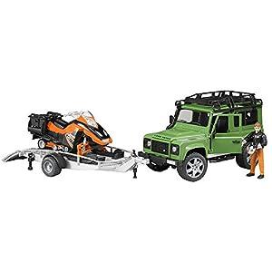 Land Rover - Defender SW, vehículo con Remolque y Moto de Nieve (Bruder 2594)