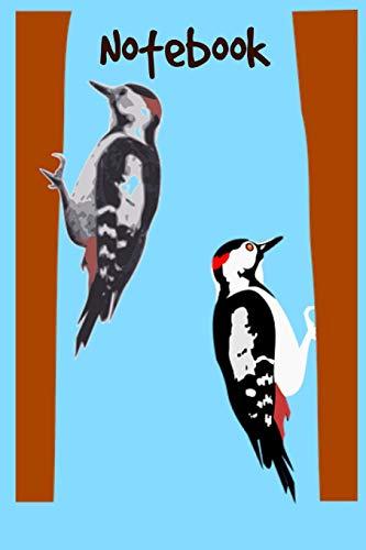 Notebook: Cute Retro Woodpecker Bird Watching Homework Book Notepad Notebook Composition and Journal Gratitude Diary Gift