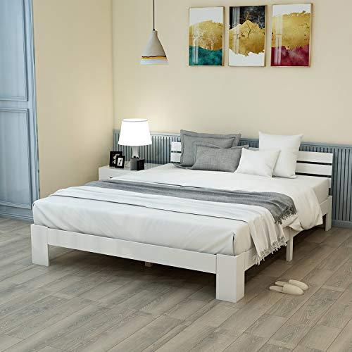 Modern Luxe Holzbett Doppelbett aus Bettgestell Holzbett mit Kopfteil mit Lattenrost - Anzug für 200 x 140 cm Matratze Massivholz FSC Massiv Doppelbett als Ehebett verwendbar, inkl. Rückenlehne (Weiß)