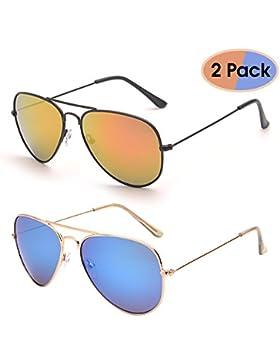 Gafas de Sol Retro de Espejo Aviador Lentes Teñido Brillantes Anteojos Para Mujer Hombre UV400