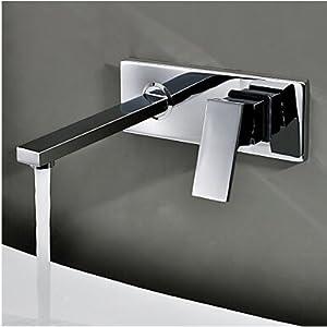 En la pared TougMoo Grifo lavabo empotrado set de tres piezas armario Baño grifo mezclador de Cuenca BR-320