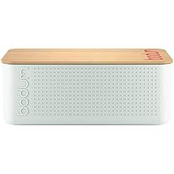 Bodum 11740–913Bistro–Panera pequeña Panera, plástico, madera, blanco, 19.39X 29,4x 10.7cm