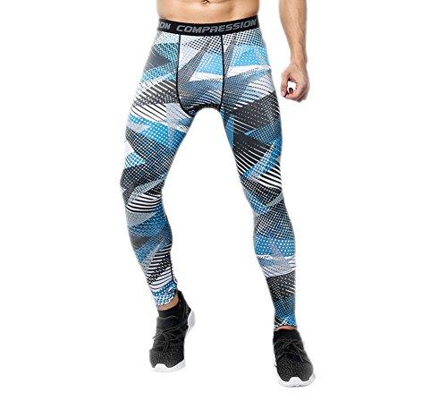 GGTFA Uomo Camuffamento Sport Leggings Compressione Strato di Base in Esecuzione di Basket Pantaloni Stretti Pantaloni Color I