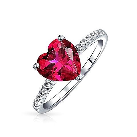 Bling Jewelry Ruby simulées CZ Valentine bague de fiançailles en argent Sterling 925