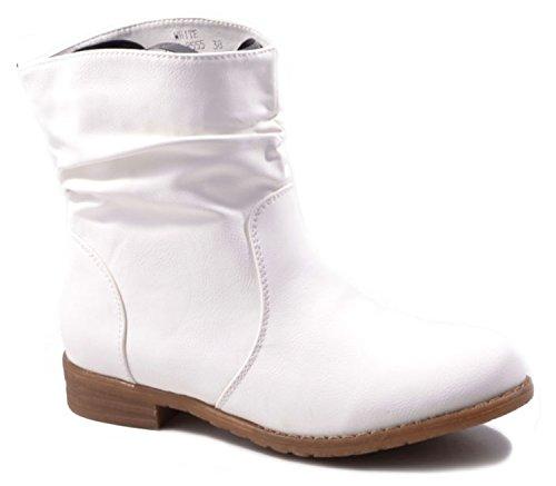 Weiße Leder Western Cowboy Stiefel (Trendige Damen Stiefeletten Cowboy Western Stiefel Boots Schuhe 86HP (36, Weiß))