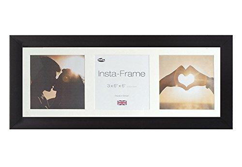 Inov8 Bilderrahmen, Wechselrahmen, für 3quadratische Fotos, mit weißem Passepartout und weißem Hintergrund, 53x 20cm, Mattschwarz -