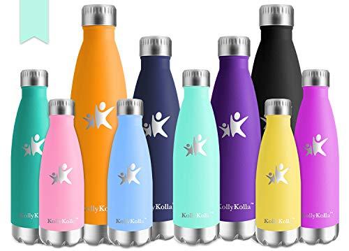 KollyKolla Bottiglia Acqua in Acciaio Inox, 500ml Senza BPA Borraccia Termica, Isolamento Sottovuoto a Doppia Parete, Borracce per Bambini, Scuola, Sport, All'aperto, Palestra, Yoga, Macaron Verde