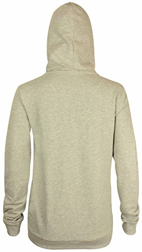 Neu Damen Front Reißverschluss Kapuze Damen Langärmlig Einfaches Sweatshirt Fleece Kapuzenpullover Jacke Mit Kapuze Hellgrau