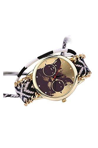 Reloj - SODIAL(R)Reloj de pulsera de cuarzo analogico de algodon de patron de gato etnica de punto de DIY para mujeres de modo 9