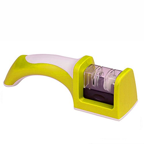 Messerschärfer Rad (Messerschärfer mit einer rutschfeste Matte darunter 2-stufig mit Diamant- und Keramik-Schärf-Rad-System für gerades Messer(Gelb))