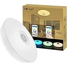 LE Plafón LED con Altavoz Bluetooth, 24W = 50W Fluorescente, Luz blanca Tono ajustable + Luz de colores, APP disponible