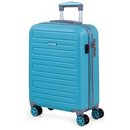 SKPAT - Valigia da cabina per viaggio corto. Porta di ricarica USB. 4 ruote trolley da 55 cm. ABS Bagaglio a mano. Piccola rigida, comoda e leggera. Lucchetto TSA. Qualità 175050, Colore Turchese