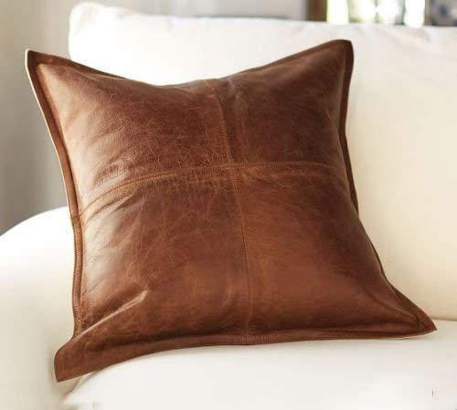 Prim Leather Kissenbezug, 100% Lammleder, Sofakissenbezug, dekorativer Überwurf, für Wohnzimmer und Schlafzimmer 20 x 20 Inches Box Tan Antique_1 -