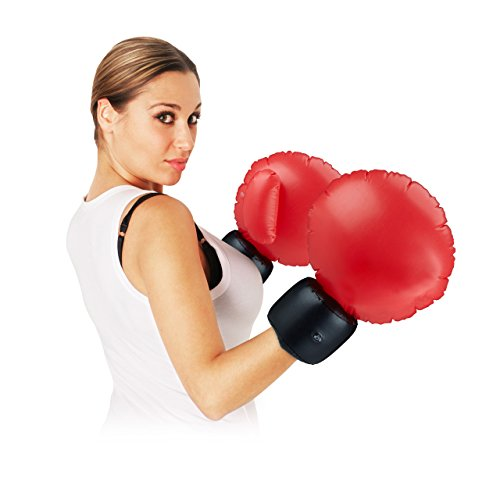 Relaxdays Boxhandschuhe aufblasbar, Paar Riesenboxhandschuhe, Boxing Gloves aus PVC, HBT: 47 x 35 x 28 cm, schwarz/rot