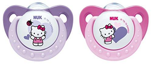 Preisvergleich Produktbild NUK 10175104 Trendline Silikon-Schnuller Hello Kitty Größe 1 (0-6 Monate), kiefergerechte Form, BPA frei, Farbe nicht frei wählbar, 2 Stück