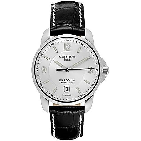Certina  - Reloj Analógico de Automático para Hombre, correa de Cuero color Negro