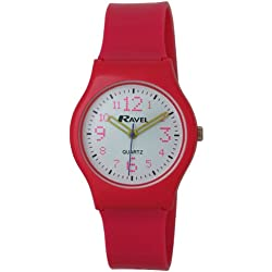 Ravel Girl's Quartz Watch with White Dial Analogue Display and Pink Plastic or PU Strap R1533.05