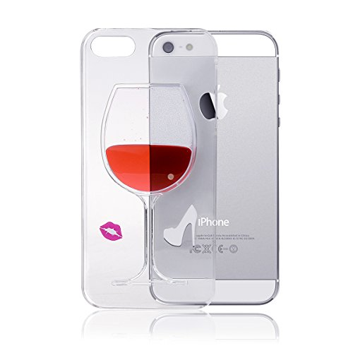 IFEDA iPhone 5/5s Case Coque Housse Etui Transparent Clair Cristal dur plastique Cover étui de protection Liquide se écoulant Bling Glitter Sparkles pour iPhone 5/5s Red Wine with Lippen