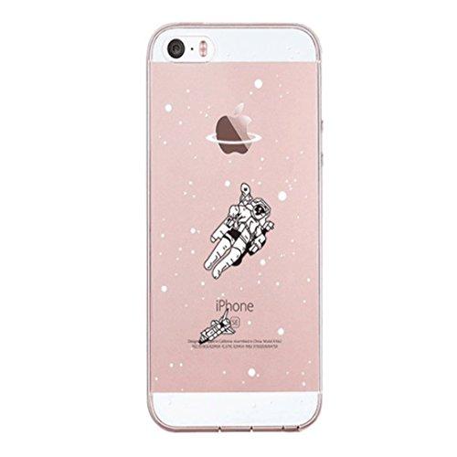 Custodia iPhone 6 6S 4.7 TXLING Cover Serie Silicone TPU Cassa Ultra Sottile Case Protettiva Morbida Flessibile Caso Liscio Leggero Custodia Antigraffio Antipolvere Cover- unicorno marrone astronauta