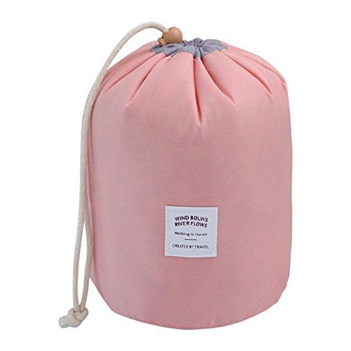 COOJA Reise Kulturbeutel Damen, Wasserdicht Rund Kosmetiktasche mit Kordelzug, Kulturtasche Waschbeutel + Mini Beutel + Transparente PVC Tasche -Pink