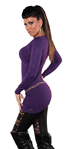 IL BAZAR Top à Manches Longues - Femme Taille Unique Aubergine