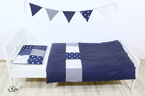 ULLENBOOM ® Kinderbettwäsche Set Blaue Sterne (2tlg. Bettset: Kissenbezug 40x60 cm & Bettdeckenbezug 100x135 cm, Motiv: Sterne, Patchwork)
