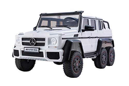 ES-TOYS Kinderfahrzeug - Elektro Auto Mercedes G63 AMG 6x6 - lizenziert - Doppelsitzer - 12V10AH Akku,4 Motoren+ 2,4Ghz+Ledersitz+Eva-Weiss (Weiss)