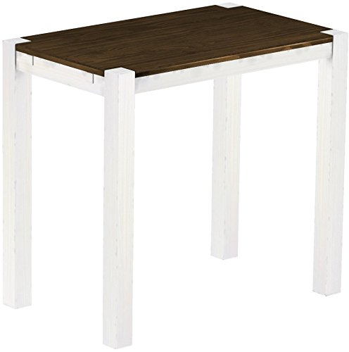 Brasil Meubles Haute Table 'Rio Kanto' Pin Bonito 120 x 73 x 109 cm, Bois Massif, Teinte chêne Antique Blanc