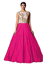 Clickedia Women's and Girls Bhagalpuri Silk pink & White Semi - Stitched floor length Gown