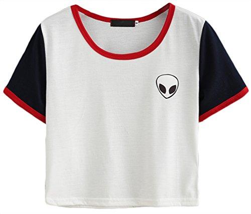 OLIPHEE Damen Alien Gedruckt Short Sleeve T-Shirt Casual Crop Tops Weiß Rot XL
