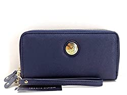 Tommy Hilfiger Blue Double Zip Around Womens Wallet