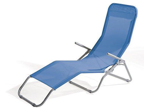 VERDELOOK Lettino Riccione da Spiaggia, Dimensioni 94x58x82 cm, Colore Blu