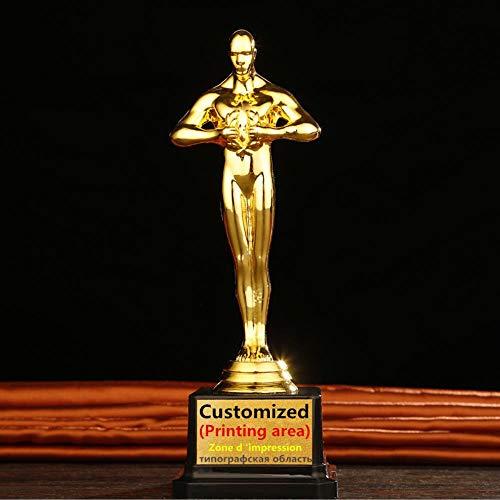 WDDqzf Ornaments Skulptur Figur Dekoration Statuen Goldene Trophäe Für Den Musikwettbewerb Dekorative Goldene Oscar-Statuette Als Andenken Kunsthandwerk Ornament Individualisierbar, Gold, Höhe 26Cm -