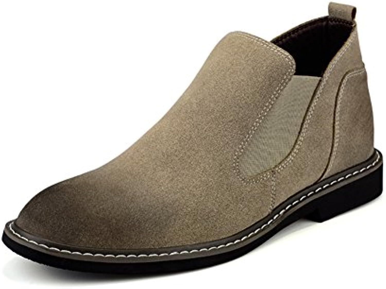 Men's leather casual shoes kleid herbst stiefel hochzeit mode] rutschen schwarzbraun braun Fußlänge=43EU