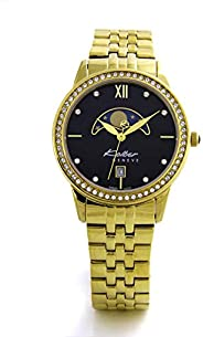 Kolber Classiques Women's Moonface Dial Gold-Plated Stainless Steel Watch - K3049223463, Analog Dis