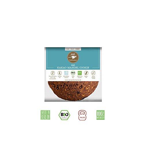 KAKAO-MANDEL COOKIE von eat Performance (15x 40g) || Bio | Paleo | ohne Zuckerzusatz | glutenfreie Kekse | laktosefrei | low carb | eiweißreich | superfood | clean eating (Kakao Mandeln)