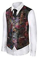 Hanayome Men's Coloured Drawing or Pattern Paisley Design Dress 5 Button Vest VS19�?¨Red,L)