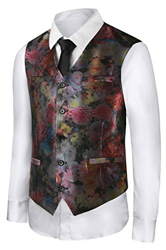 Hanayome Men's Coloured Drawing or Pattern Paisley Design Dress 5 Button Vest VS19�¨Red,L)