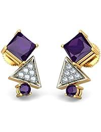14K Amarillo Oro 0,07quilates white-diamond (IJ | si) y Amatista Stud Pendientes
