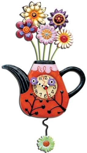 Allen Designs P9014 Horloge Théière Rouge avec Fleurs Résine 42 cm