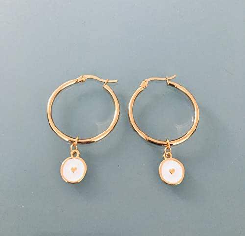Cerchietti a cuore, orecchini creoli a cuore in oro e perle bianche e oro, creoli in oro, gioiello dorato, regali di gioielli, regalo per donna