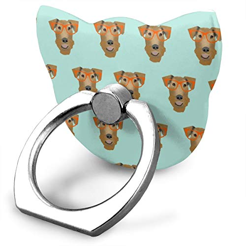 Best& airedale terrier glasses cute dog pattern mint_27252 360 degree swivel creative ring buckle bracket multi-functional ring bracket stand for universal phone