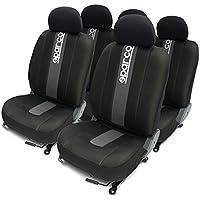 SparcoSPC1012 Juego de fundas para asientos de coche, color negro y gris, modelo CLASSIC, 11 Piezas