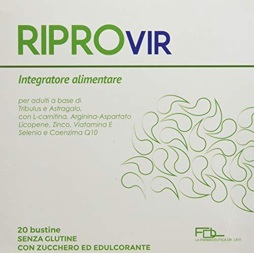 RIPROVIR -20 bustine - Integratore alimentare a base di Tribulus e Astragalo, con L-Carnitina, Arginina, Licopene, Zinco, Vitamina E, Selenio e Coenzina Q10, con Stevia