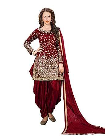 Fabzara Womens Red Color Tapheta Silk Mirror work Patiyala Suit (FZ_40005 Red) Dress Materail